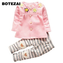 2017 Baby Girls Spring Autumn Christmas Outfits Clothing Sets Children tracksuit set flower botton cardigan suit kids girls
