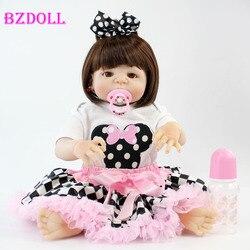 """Bzdoll 22 """"silicone cheio reborn boneca menina realista bebe vivo bebês recém-nascidos adorável menina boneca presente banho à prova dwaterproof água brinquedos"""