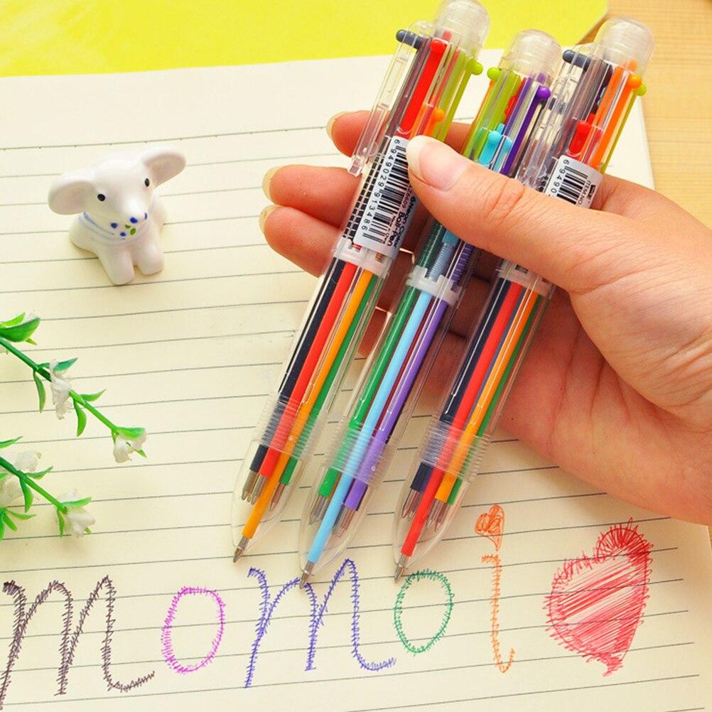 Bolígrafo Multicolor creativo, bolígrafo precioso de aceite, papelería, prensa, bolígrafo de aceite de seis colores para estudiantes, niños, suministros de oficina y escuela