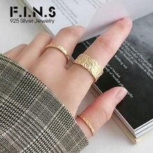 F.I.N.S personnalisé anneaux inégaux 925 en argent Sterling bague femelle mince large empilable ouvert manchette bagues pour la décoration