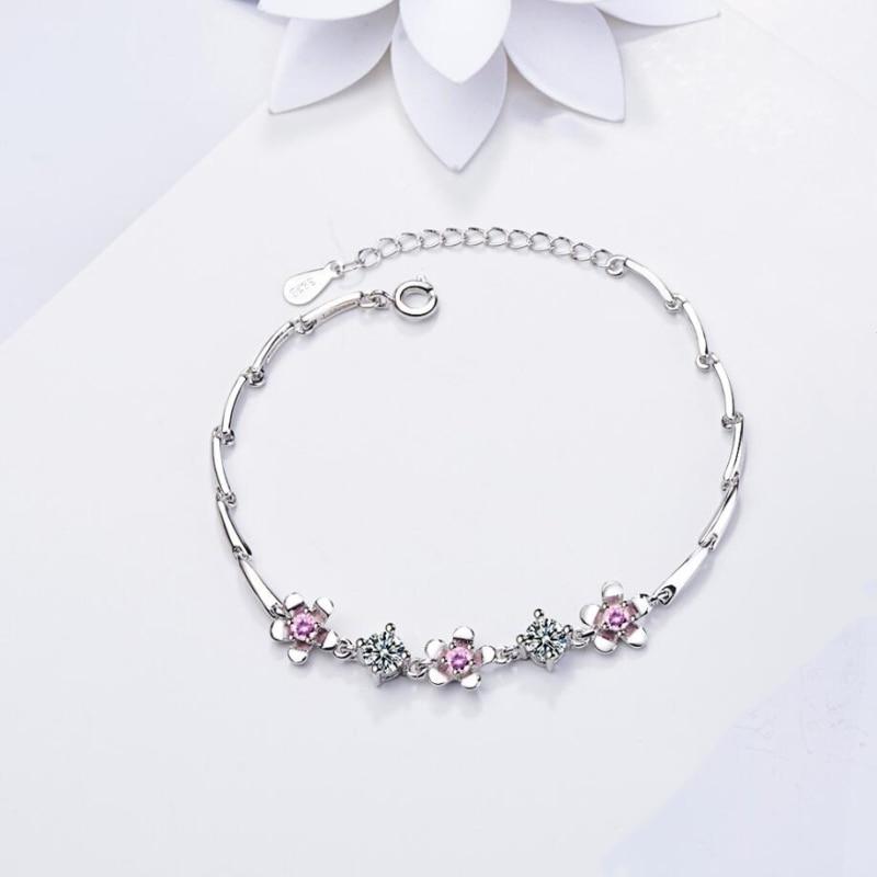 Flor de circón, estilo coreano sencillo, viento, Plata de Ley 925, temperamento femenino de tamaño reajustable de moda, pulseras SBR091