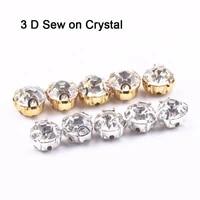 3d glass crystal silver claw setting 4mm 5mm 6mm 7mm 8mm glass rhines sew on rhinestone beads bags wedding dress diy