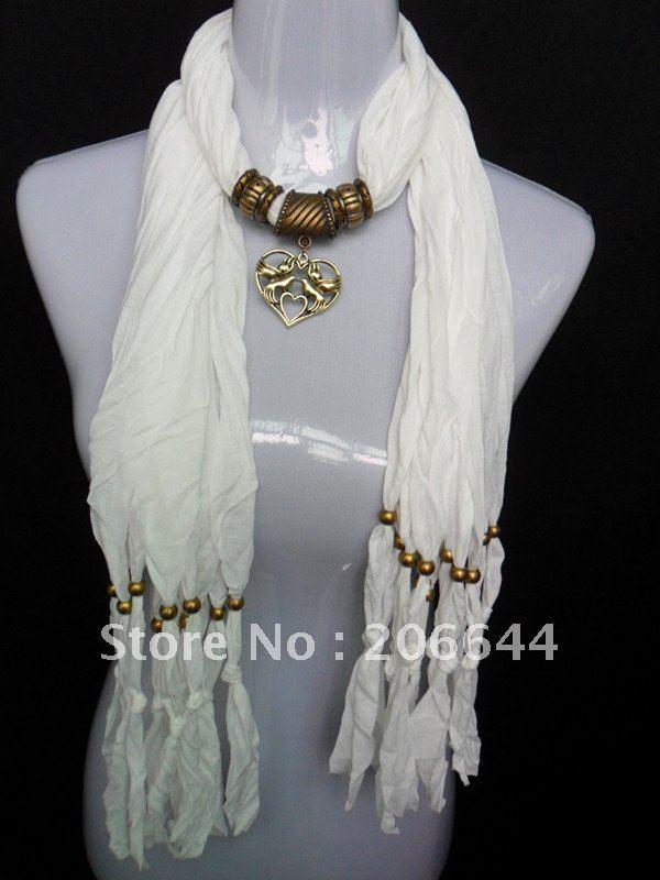 Fashion women scarf shawl pendant scarf Necklace fashion jewelry scarves heart-shaped pendant lady scarf  free shipping