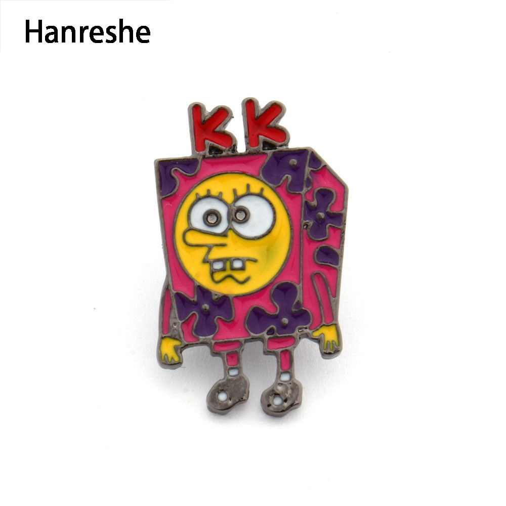HANRESHE Bob Esponja Meme broche con Pin de solapa Pin lindo Rosa joyería de moda esmalte Pin insignia para las mujeres accesorios mejores regalos