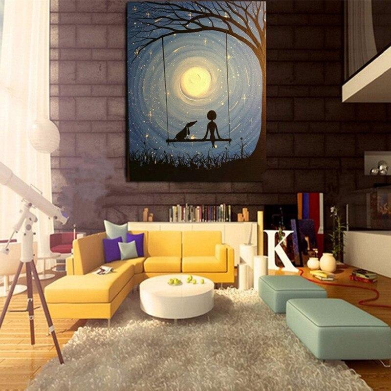 Pintura al óleo de paisaje moderna pintada a mano 100% sobre lienzo decoración de pared arte chico look La Luna imagen para decoración para sala de estar