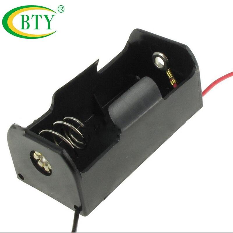 10 Uds BTY caja de plástico negro para baterías, almacenamiento de contenedores, baterías 3V funda, soporte de cables de alambre para baterías 14250 al por mayor