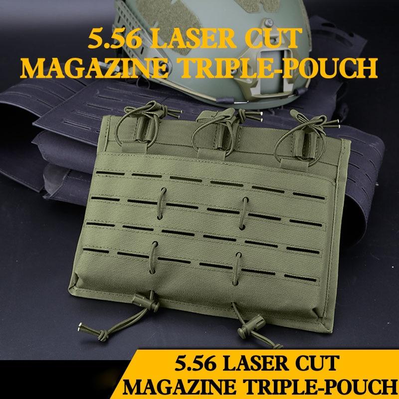 5,56 táctica Combat revista Triple-bolsa Airsoft militar bolsas de tiro al aire libre CS caza Rifle arma Mag bolsas