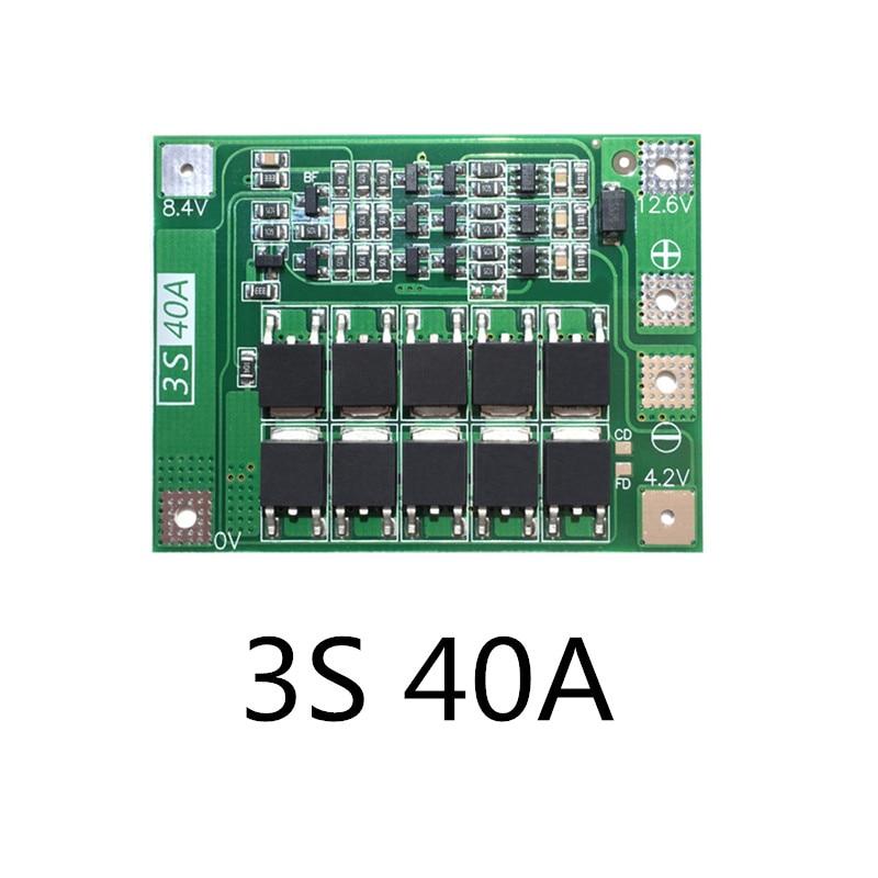 Placa 3S 40A BMS 11,1 V 12,6 V 18650 Placa de protección de batería de litio para corriente de taladro 40A
