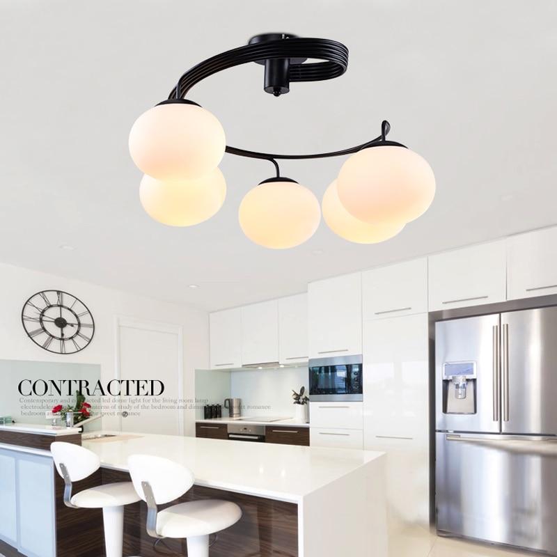 Decoración moderna para hogar, color melocotón, DIY, bola de cristal, luz colgante, 3 o 5 uds, Bombilla E27, lámpara de araña de Metal, pintura negra, montaje empotrado