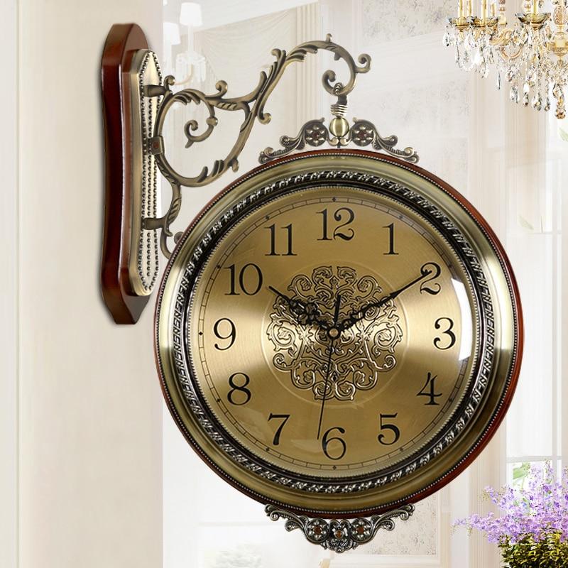 Reloj de pared Retro de madera de doble cara, reloj de Metal para pasillo, reloj europeo Pow Patrol Guess, decoración para el hogar para mujeres, cuarzo grande 50ZB024