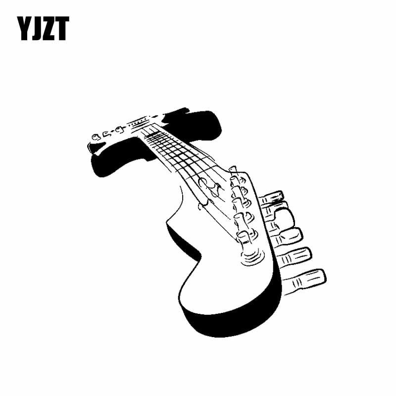 YJZT 17.8 CENTÍMETROS * 17.1 CENTÍMETROS de Música Guitarra Elétrica Deck C13-000626 Prata Vinyl Decal Adesivo de Carro Moto Preta