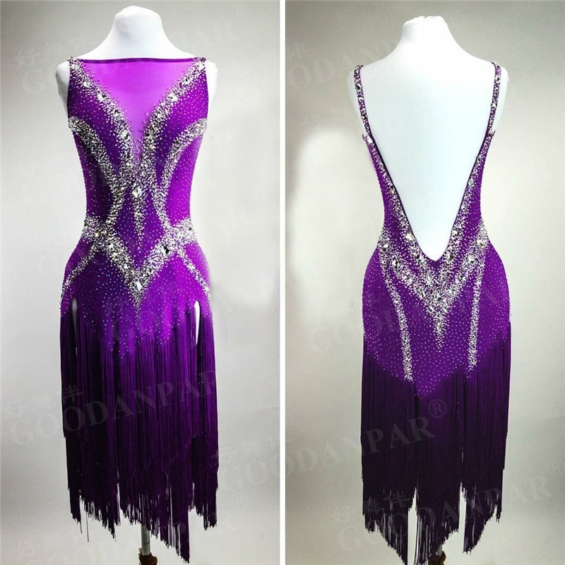 GOODANPAR-فستان رقص لاتيني ليكرا ، مقاس قياسي ، مع حمالة صدر ، كوب ، بدلة سباقات سامبا والسالسا
