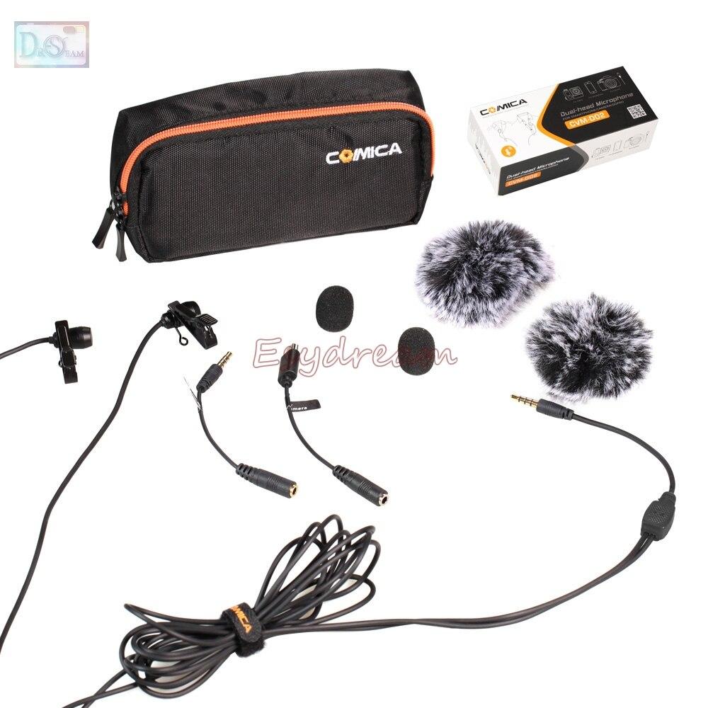 Comica 6 m dupla-cabeça microfone de lapela omnidirecional condensador mic para câmera dslr smartphone gopro entrevista youtube CVM-D02