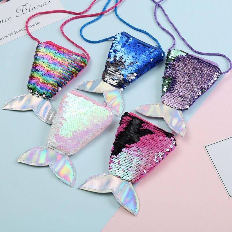 Girls Kids Children Mermaid Tail Crossbody Bags Key Coin Holder Purse Zipper Girl Shoulder Bag Handbag