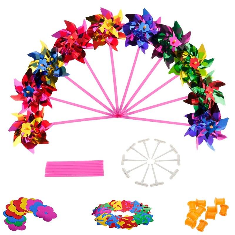 10 Uds molinete Molino de plástico Spinner de viento juguete para niños césped y jardín decoración de fiesta juguete para regalo para niños niñas bebé