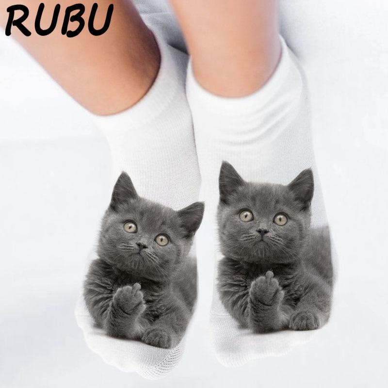 Rubu 女性のおかしい動物かわいい 3D プリントソックス女性アンクルソックスユニセックスソックスホット女性ファッションソックス漫画の猫女性のための 5H1