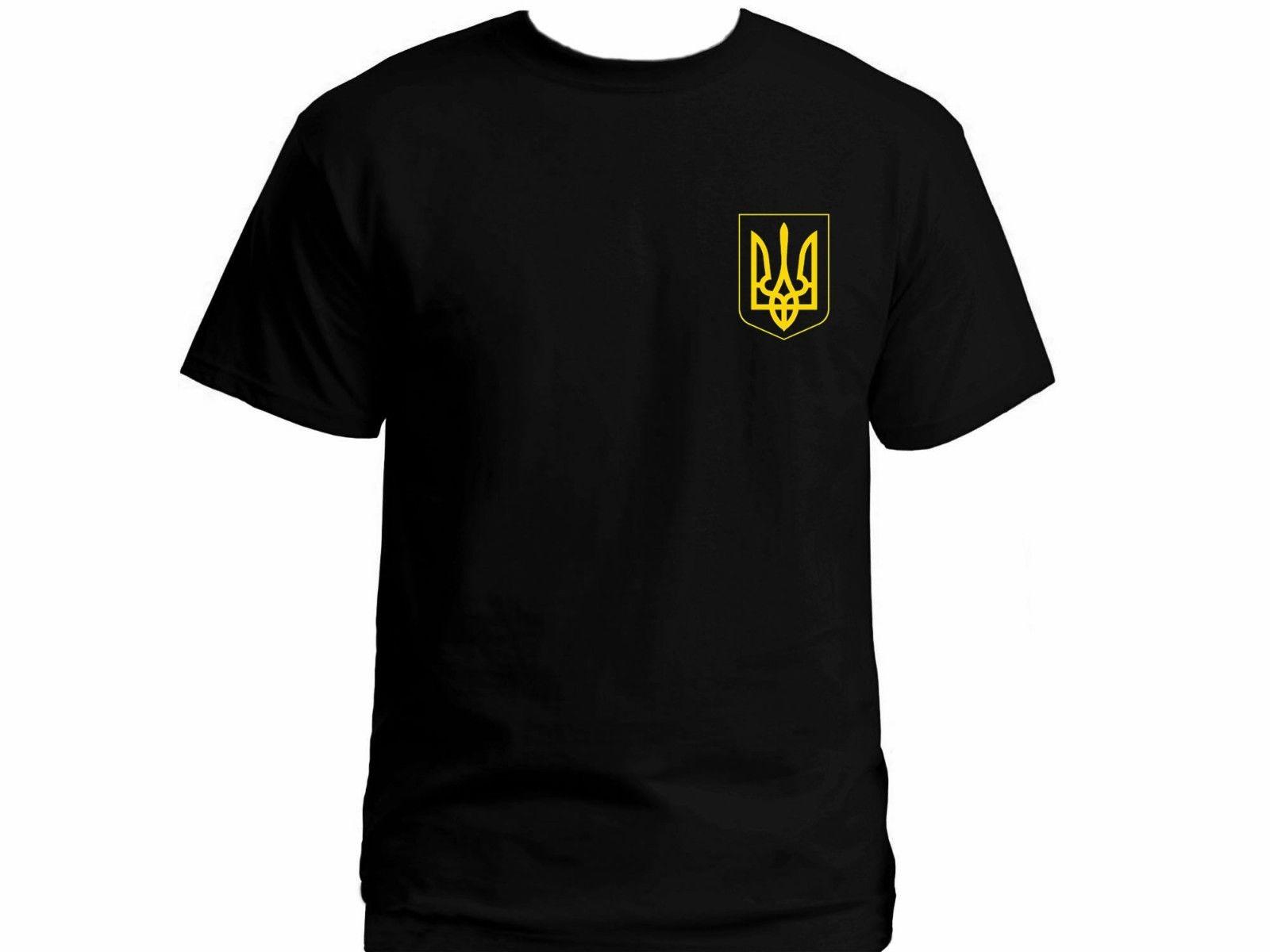 2019 bandera ucraniana Ucrania patriot signo tryzub negro 100% algodón nueva camiseta US XXL