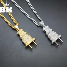 Collier pendentif Bling Plug pour hommes glacé or argent couleur charme Micro Pave strass bijoux HipHop