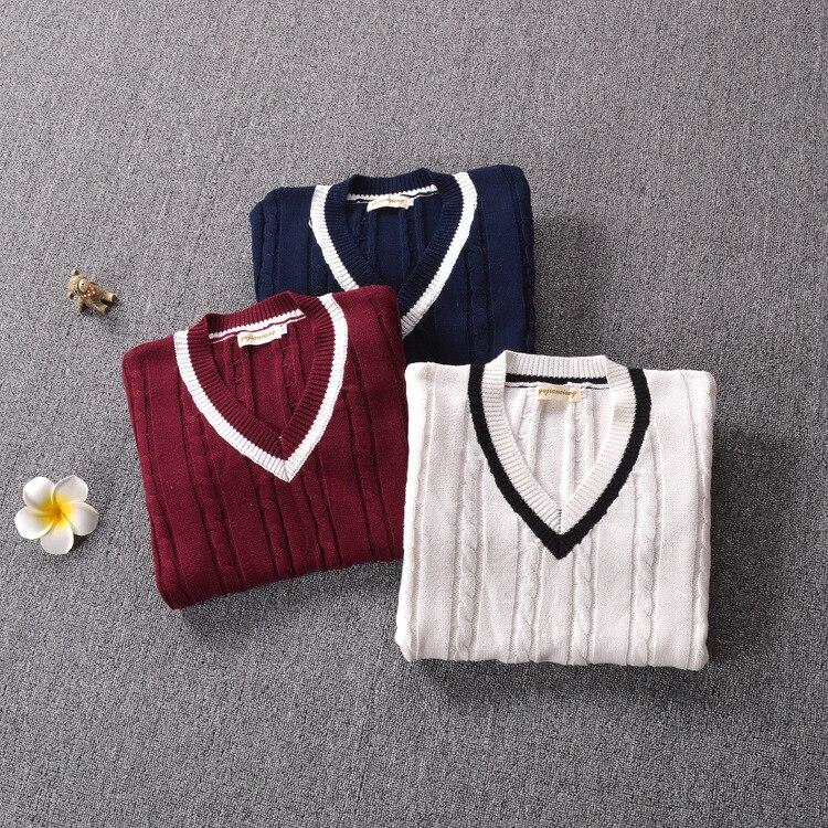 Suéter de inverno feminino estilo preppy, uniforme escolar japonês de manga longa 3 cores