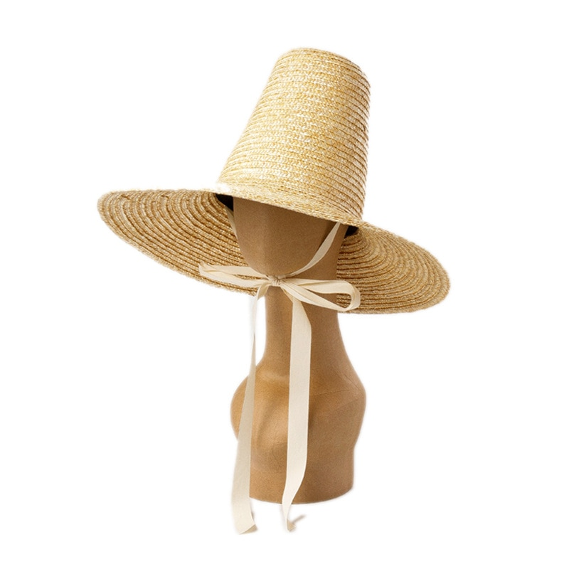 01907-HH7359, modelo de paja hecho a mano, gorra de Sol para mujer, gorra de sol para mujer, gorro de vacaciones de playa de ocio
