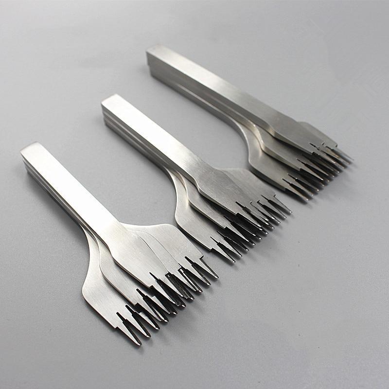 3 шт./компл. 2/5/10 зубная зубчатая кожа, штампованная стальная стамеска во французском стиле, острый Железный инструмент для штамповки кожи-2,7/3,0/3,38/3,85 мм
