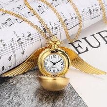 Antique Mini smooth Wings Bronze Silver Snitch Pocket Watch Necklace Chain Pendant Golden Quartz Poc