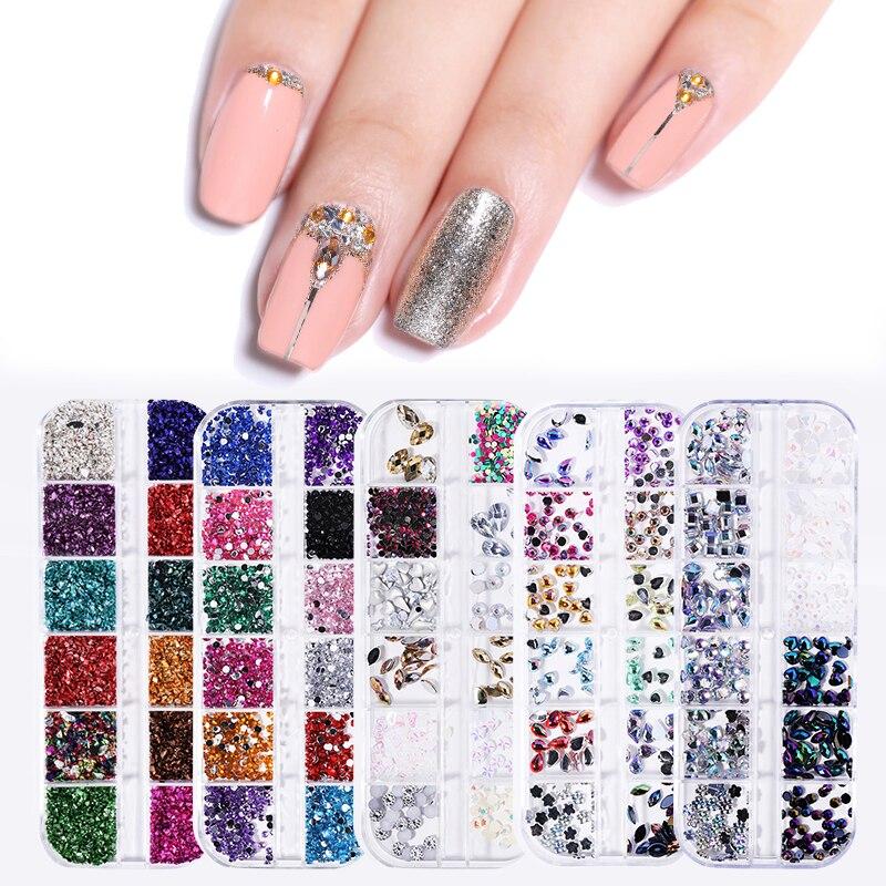 12 rejillas/caja Nail Art Rhinestone cristal mezclado gotas de agua piedras fondo plano 3D decoración para uñas diseño DIY