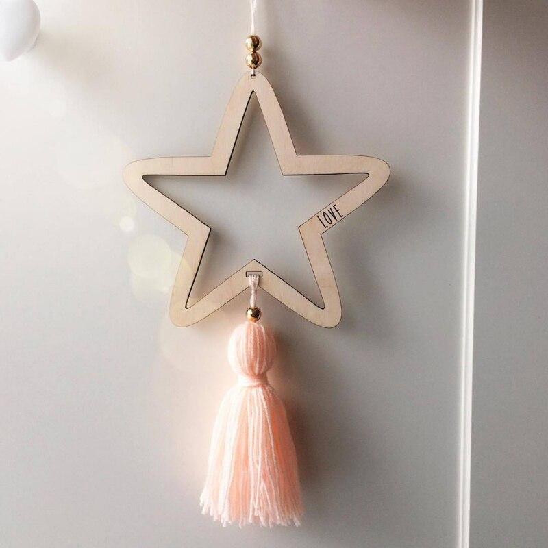 Decoración colgante de estilo nórdico, cuentas de estrella con borla para niños, regalos para niños, decoración del hogar, colgante