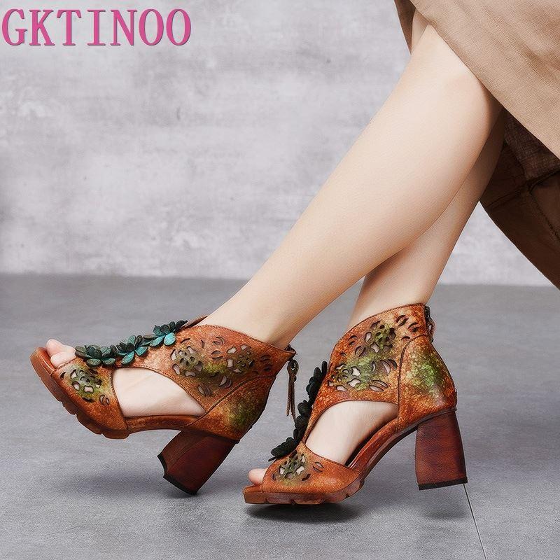 GKTINOO-صندل نسائي من الجلد الأصلي بكعب عالٍ مصنوع يدويًا ، حذاء صيفي بسحاب ، 2021
