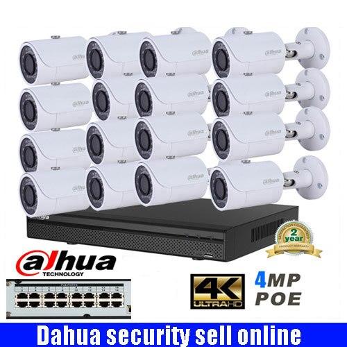 Dahua multilingüe 16ch 4MP H.265 4K sistema de cámara IP CCTV de red POE con DAHUA DH-IPC-HFW1431S 4MP HD Bullet IR cámara IP