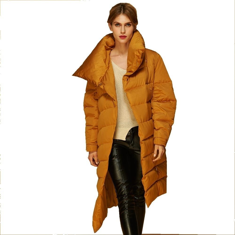 Фото - Irregular warm scarf collar winter stylish long down jacket woman long thicken keep warm down coat women AF1288 пуховик long down jkt 1