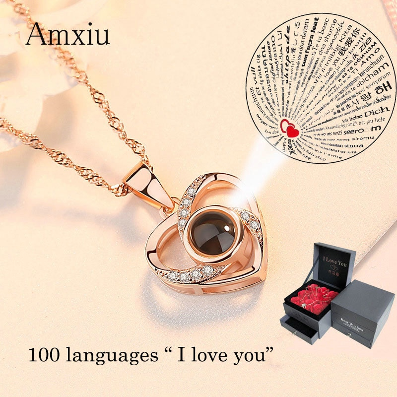 Amxiu Custom 100 Languages I Love You Necklace 925 Silver Clavicular Chain Heart Pendant Necklace Women Jewelry Valentine's Gift недорого