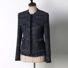 Dark blue tweed jacket spring/autumn women's coat jacket elegant versatile ladies short jacket
