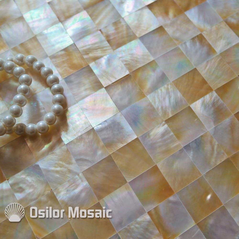 Бесплатная доставка 100% Морская раковина желтая раковина перламутровая мозаичная плитка для интерьера дома декоративная настенная плитка 1...