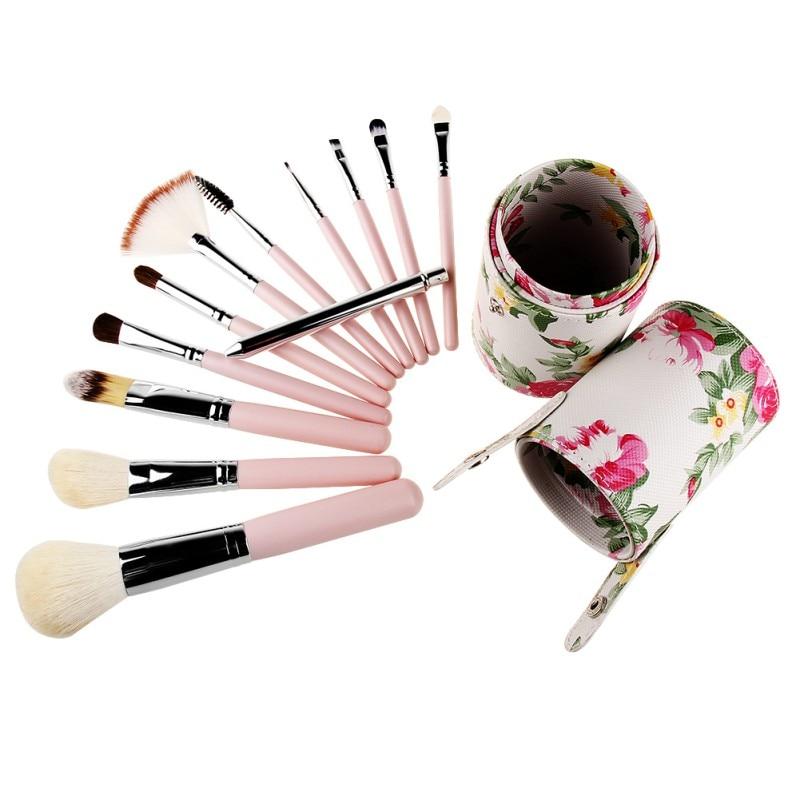 Travel Cosmetic Brushes Makeup Artist Bag Brushes Organizer Cosmetic Makeup Brush Set Kit With Rose flower Bag