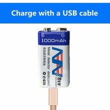 9 v 1000 mah bateria de íon de lítio recarregável usb bateria detector brinquedo linha localizador bateria recarregável frete grátis