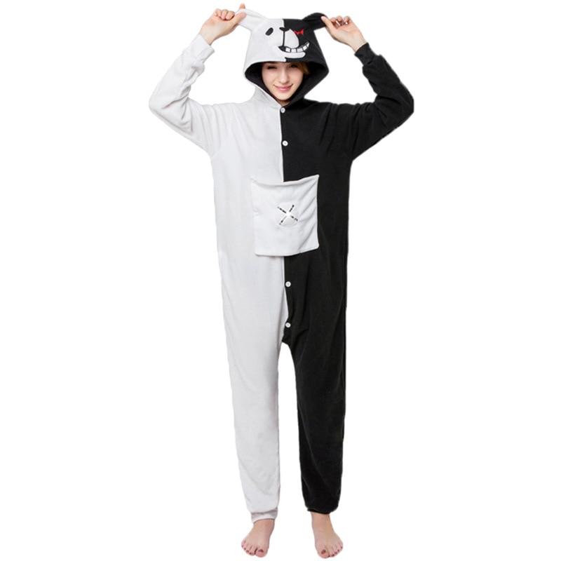 Mujeres de dibujos animados blanco y negro oso con capucha de manga larga pijama de adultos Fleece Animal encantador Panda set Homewear pijamas onesie