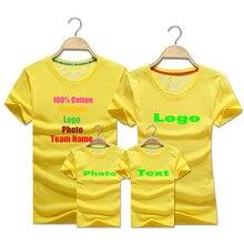 Blank Solid Custom Logo Photo Text Printed Family T-shirt Women Men Dad Mom Kids Child Summer Team Shirts Party Boy Girl t shirt