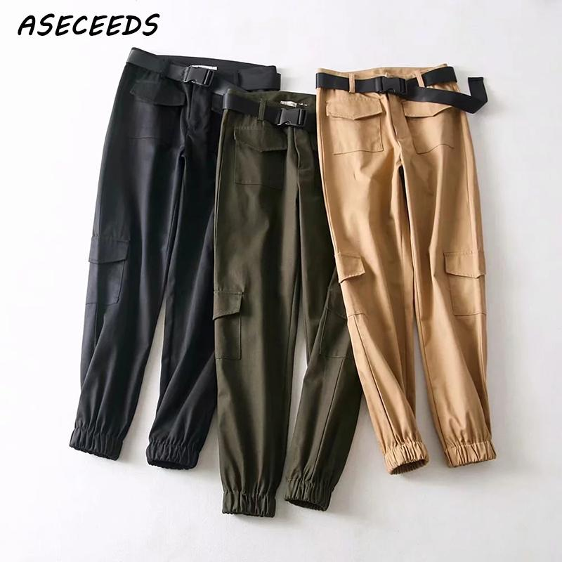 Pantalones negros de camuflaje de cintura alta, pantalones para correr, bolsillos para mujer, pantalones Cargo caqui, pantalones sueltos para mujer, ropa de calle, moda coreana 2019