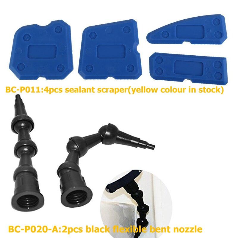 10sets Per Order 2pcs Flexible 360 degree bent rotating nozzle All Corner Caulking and 4pcs yellow sealant finisher