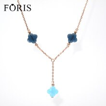 FORIS marque de mode bijoux 3 trèfle à quatre feuilles cristal or Rose sautoir pour les femmes cadeau 6 couleurs PN030