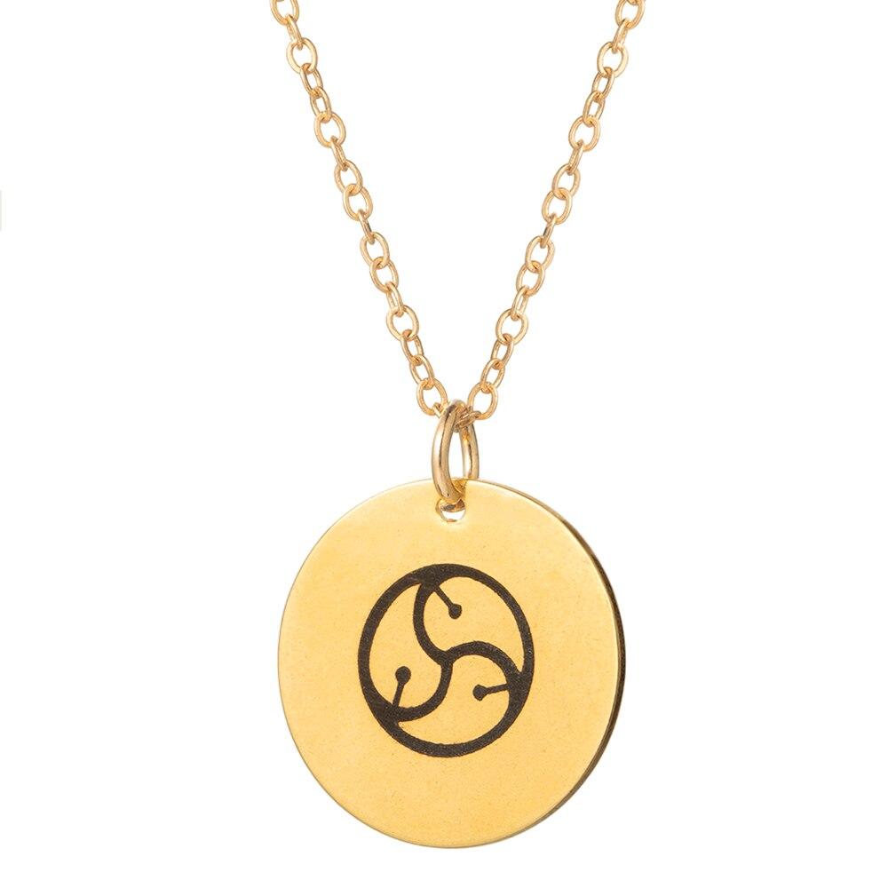 De acero inoxidable collar BDSM colgante de monedas de oro collar
