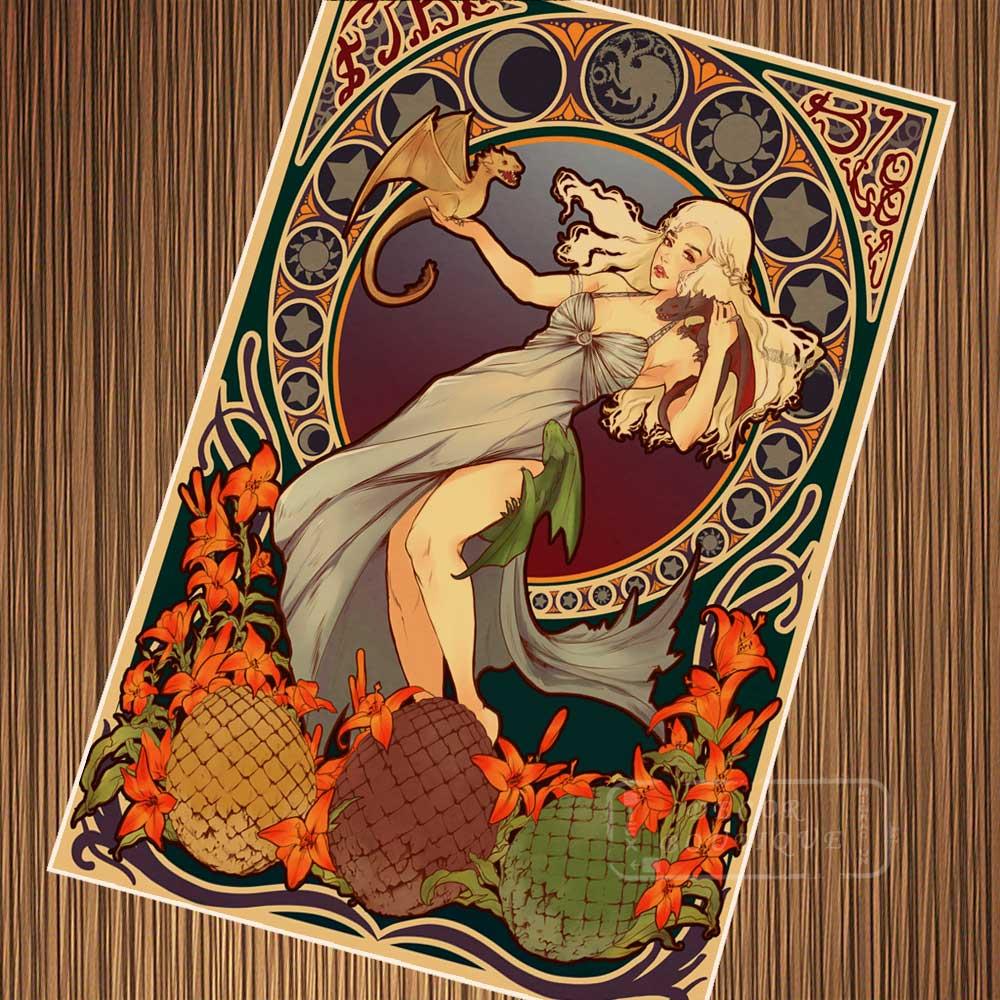 Juego de Arte de tronos Retro de estilo Retro, pintura en lienzo DIY, adornos de pared de papel, regalo para decoración del hogar