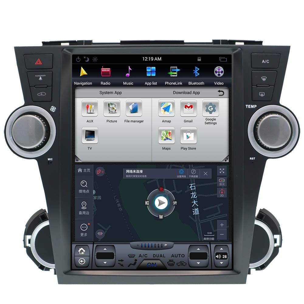 Tesla Android7.1 без dvd-плеера GPS навигация для Toyota Highlander 2009-2013 карты CD Большой 12,1 IPS экран радио palyer аудио