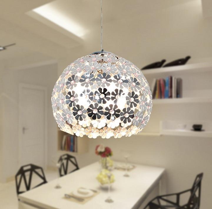 Подвесной светильник с красивым цветком и кристаллом, Современный осветительный прибор, Подвесная лампа для столовой, спальни