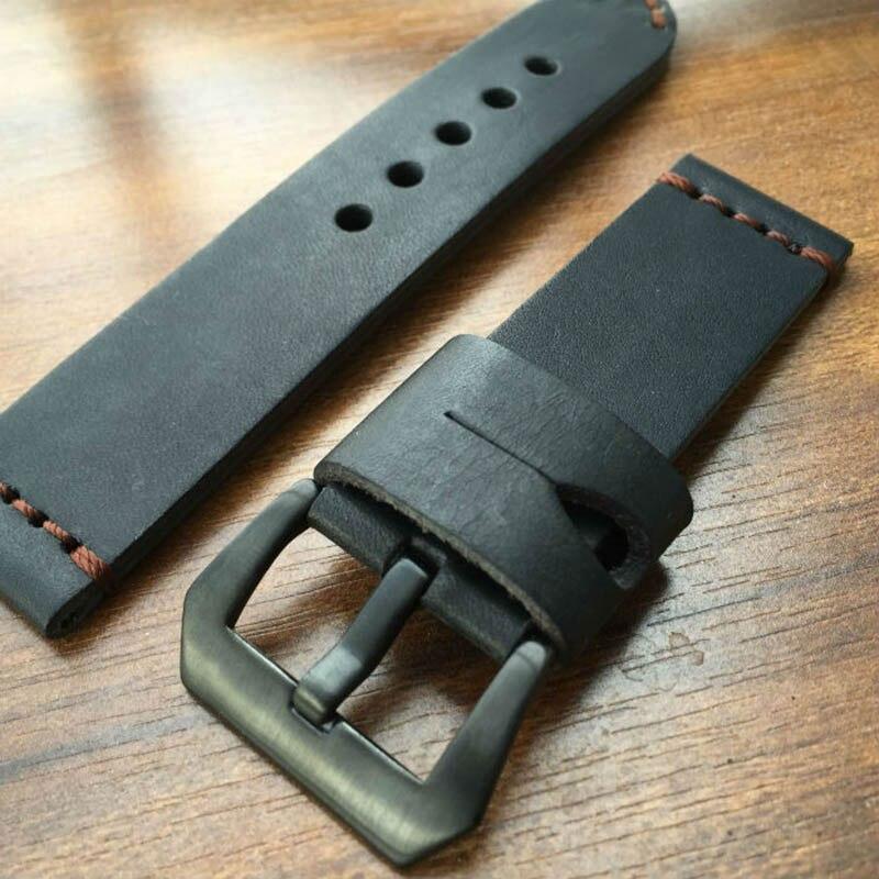 Nowe mody skórzany pasek dla Panerai 111 czarna klamra 20MM 22MM 24MM 26MM męska czarny Retro specjalny pasek do zegarka paski