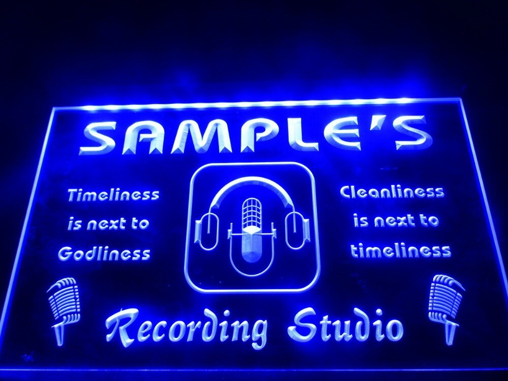 DZ043-nombre personalizado micrófono de estudio de grabación letrero de neón con luz LED