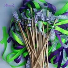 Venta caliente 50 piunids/lote varillas de cinta de encaje púrpura con campana de plata para decoración de boda
