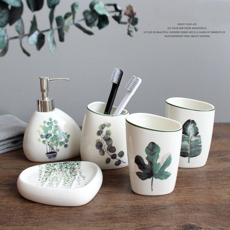 Juego de 5 piezas de accesorios de baño de cerámica de planta verde nórdica, Set de accesorios de baño, regalos de boda, botella de almacenamiento para el baño 0946