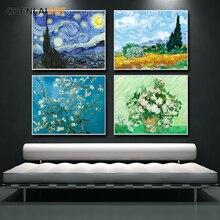Van Gogh-toile de peinture imprimée célèbre   Affiche de la nuit étoilée, photos murales pour affiches et imprimés de salon, Art mural, sans cadre